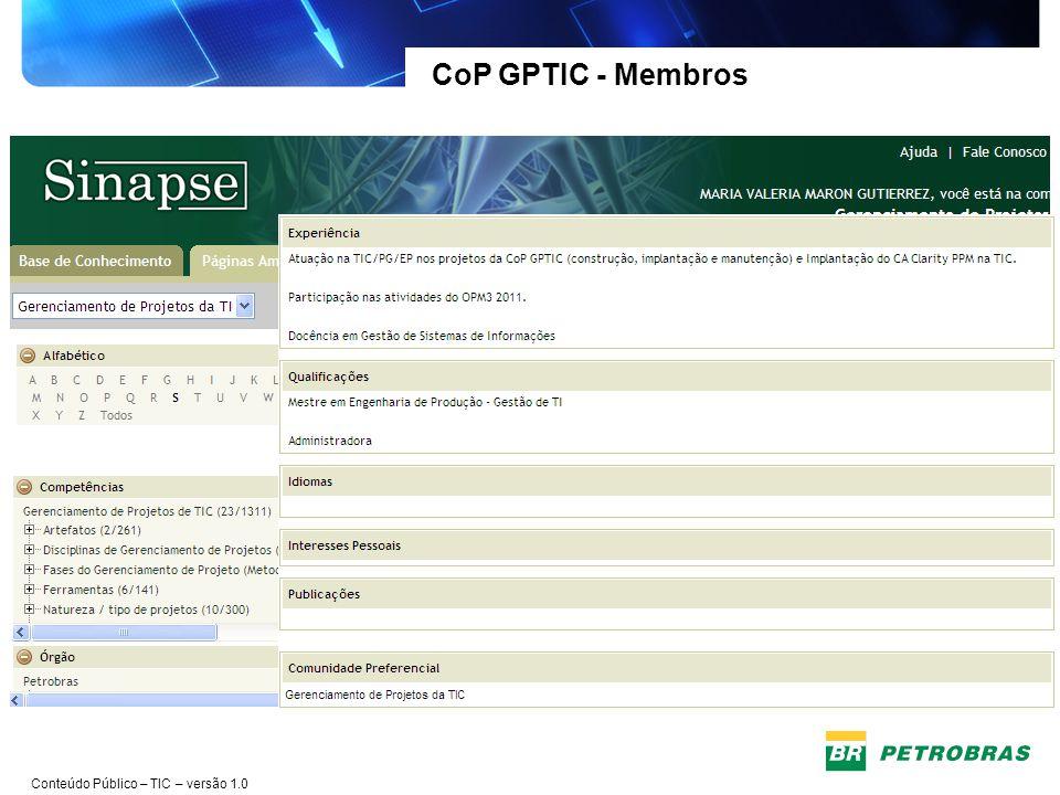CoP GPTIC - Membros Maior integração entre as Gerências da TIC