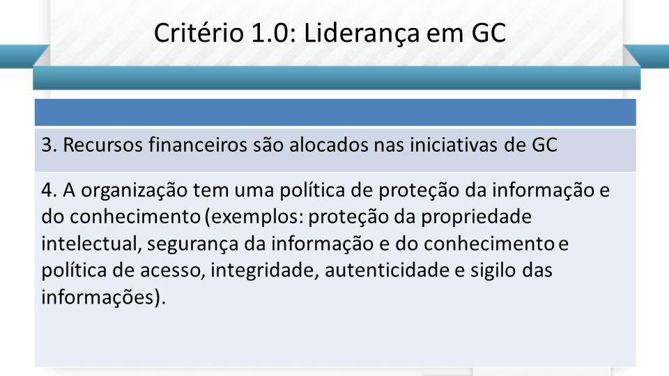 Critério 1.0: Liderança em GC
