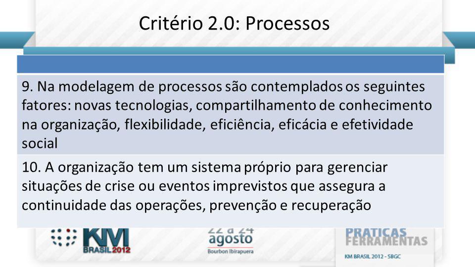 Critério 2.0: Processos