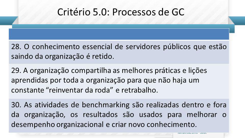 Critério 5.0: Processos de GC