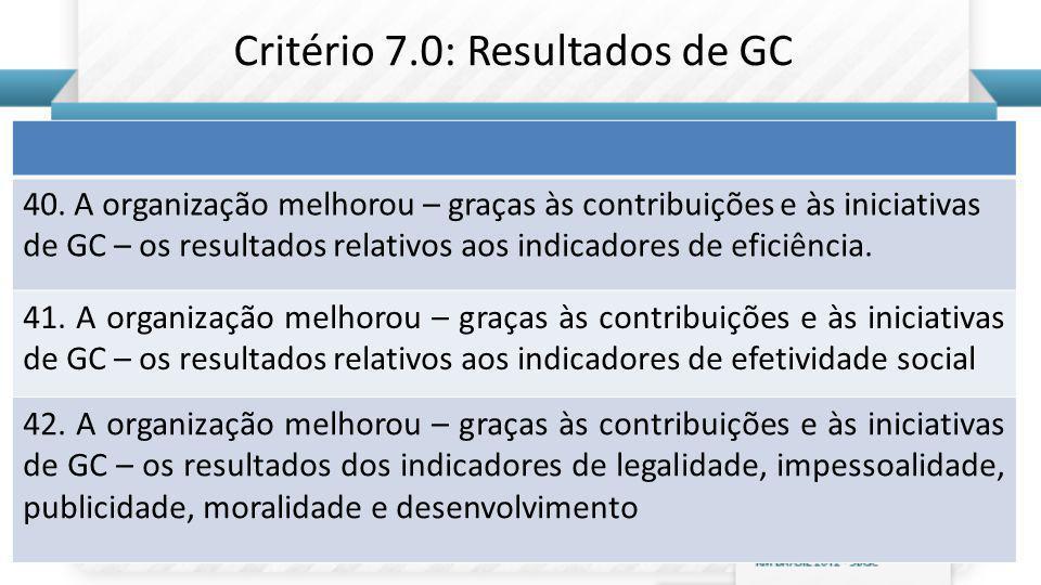 Critério 7.0: Resultados de GC
