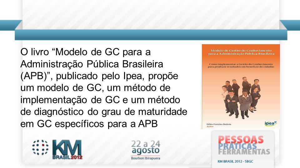 O livro Modelo de GC para a Administração Pública Brasileira (APB) , publicado pelo Ipea, propõe um modelo de GC, um método de implementação de GC e um método de diagnóstico do grau de maturidade em GC específicos para a APB