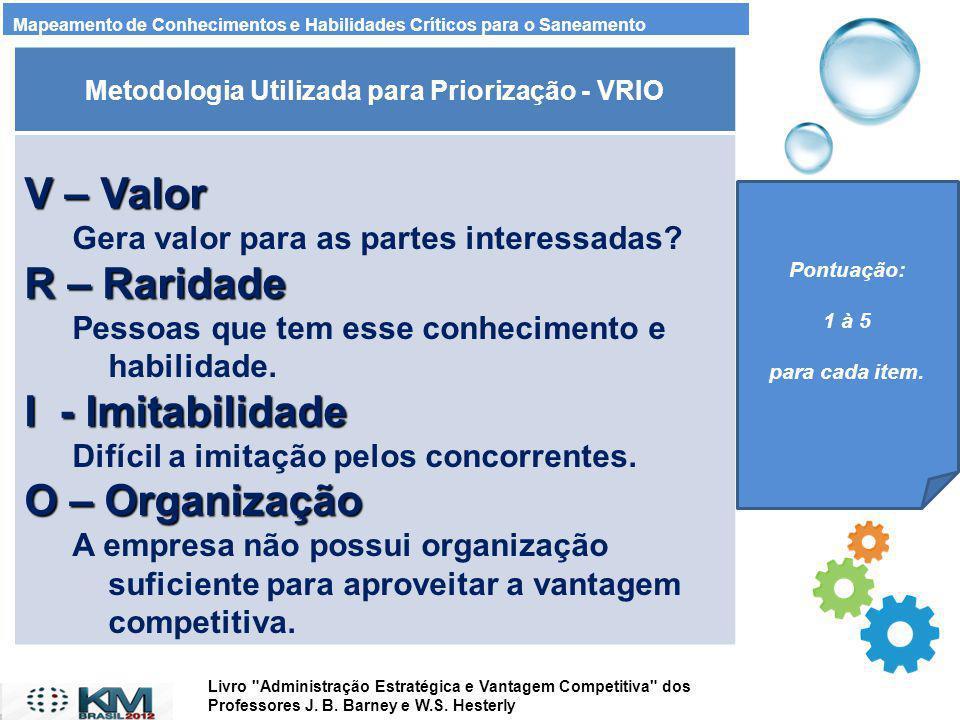 Metodologia Utilizada para Priorização - VRIO