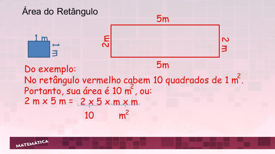 No retângulo vermelho cabem 10 quadrados de 1 m .