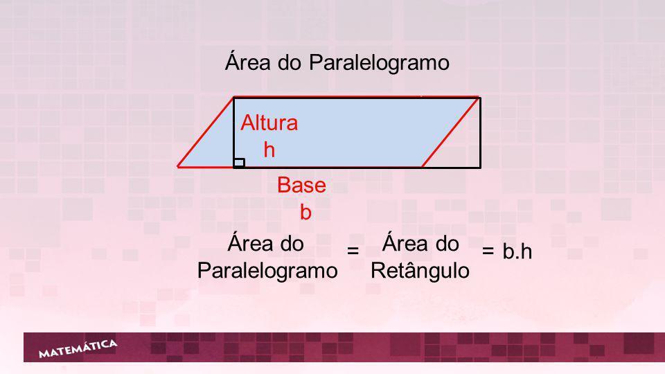 Área do Paralelogramo Altura h Base b Área do Paralelogramo Área do Retângulo = = b.h