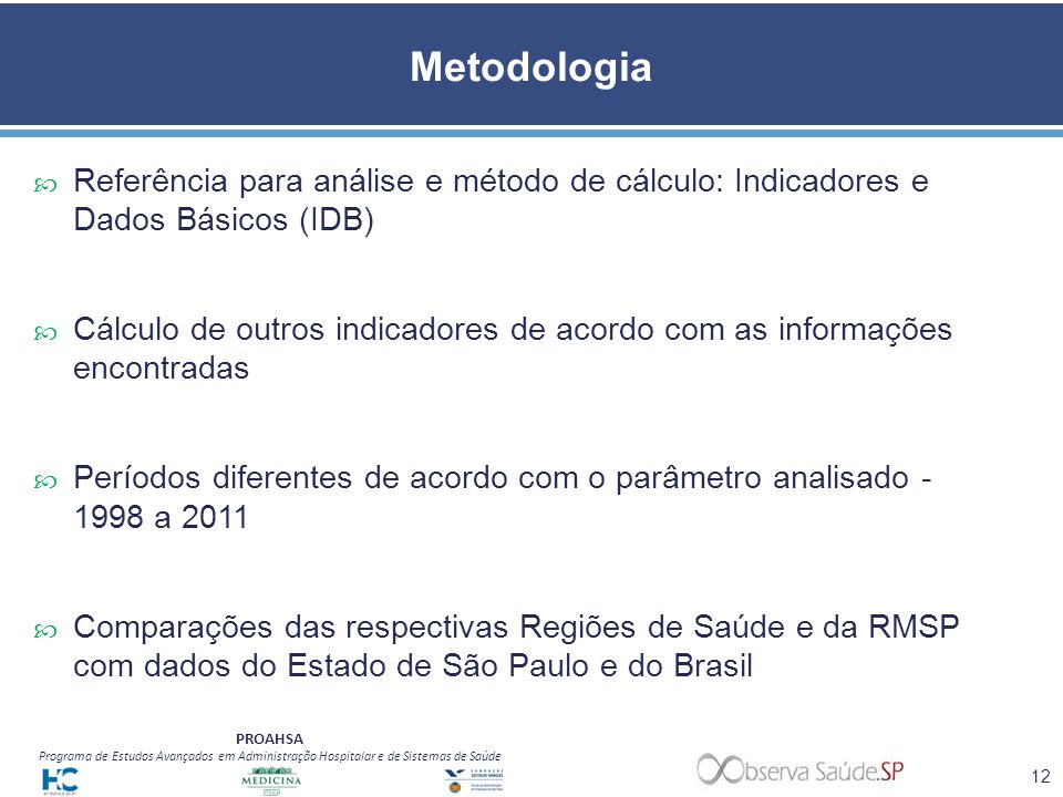 Metodologia Referência para análise e método de cálculo: Indicadores e Dados Básicos (IDB)