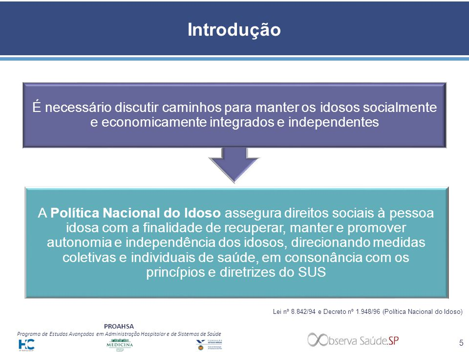 Introdução É necessário discutir caminhos para manter os idosos socialmente e economicamente integrados e independentes.