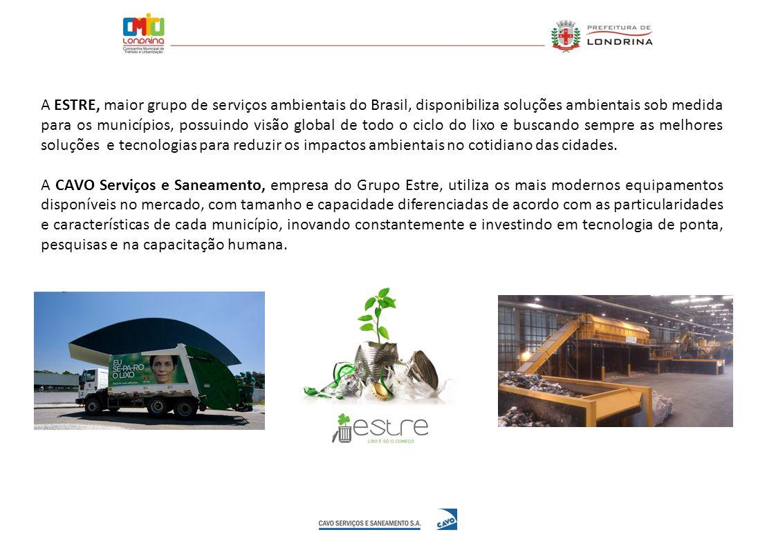 A ESTRE, maior grupo de serviços ambientais do Brasil, disponibiliza soluções ambientais sob medida para os municípios, possuindo visão global de todo o ciclo do lixo e buscando sempre as melhores soluções e tecnologias para reduzir os impactos ambientais no cotidiano das cidades.