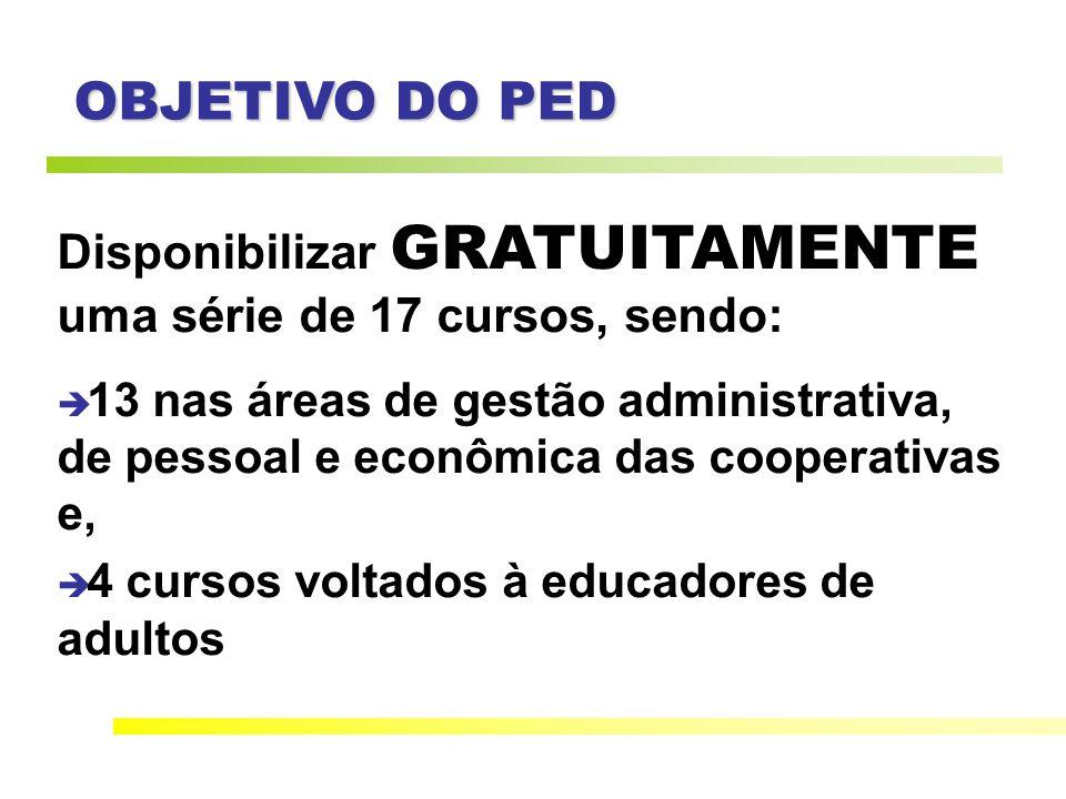 OBJETIVO DO PED Disponibilizar GRATUITAMENTE uma série de 17 cursos, sendo: