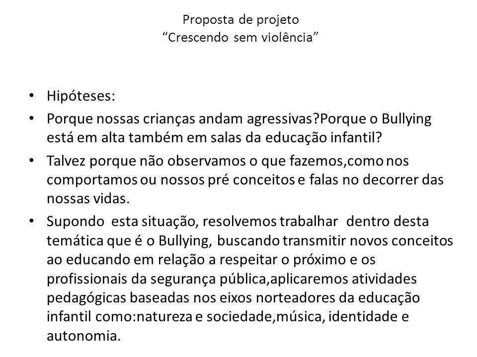 """Preferência Proposta de projeto """"crescendo sem violência"""" - ppt carregar BO23"""