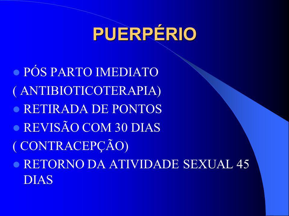 PUERPÉRIO PÓS PARTO IMEDIATO ( ANTIBIOTICOTERAPIA) RETIRADA DE PONTOS