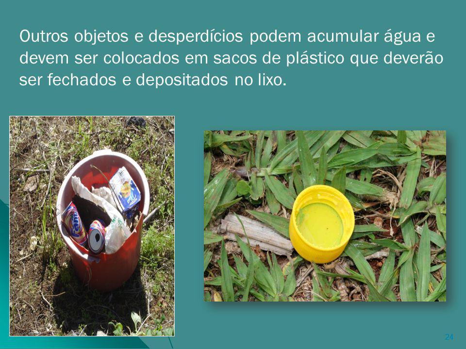 Outros objetos e desperdícios podem acumular água e devem ser colocados em sacos de plástico que deverão ser fechados e depositados no lixo.