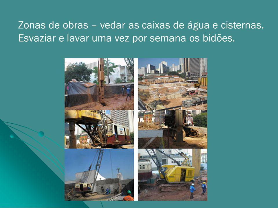 Zonas de obras – vedar as caixas de água e cisternas