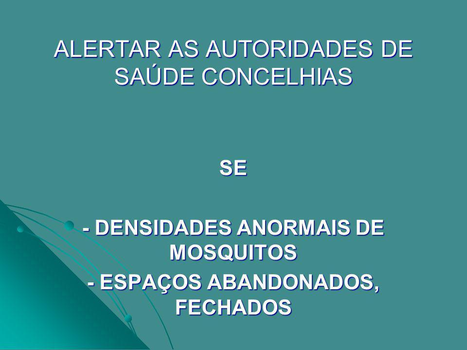 - DENSIDADES ANORMAIS DE MOSQUITOS - ESPAÇOS ABANDONADOS, FECHADOS