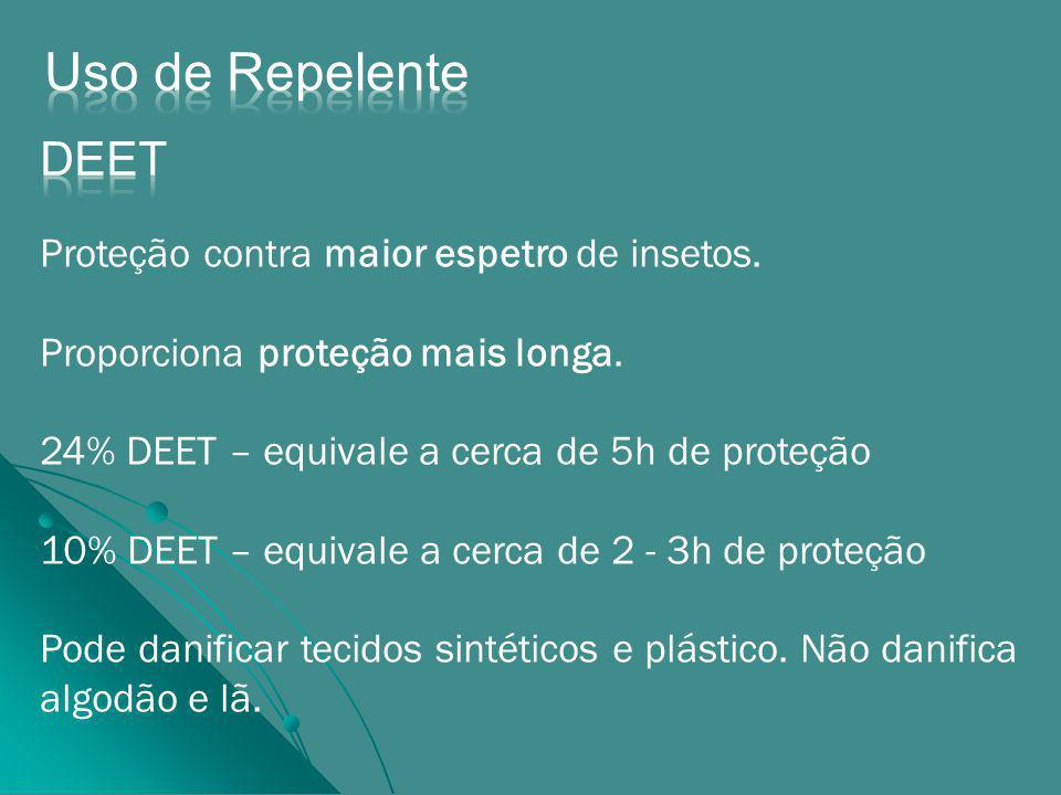 Uso de Repelente DEET Proteção contra maior espetro de insetos.