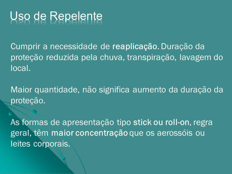 Uso de Repelente Cumprir a necessidade de reaplicação. Duração da proteção reduzida pela chuva, transpiração, lavagem do local.