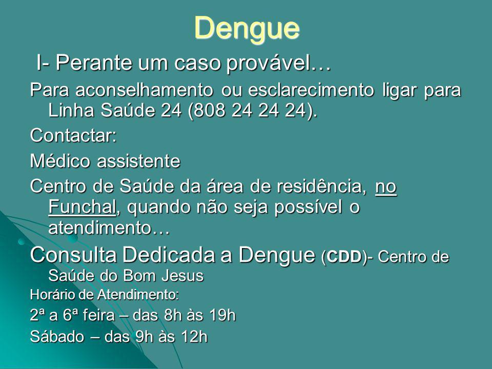 Dengue I- Perante um caso provável…