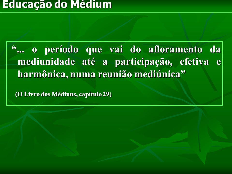 Educação do Médium ... o período que vai do afloramento da mediunidade até a participação, efetiva e harmônica, numa reunião mediúnica