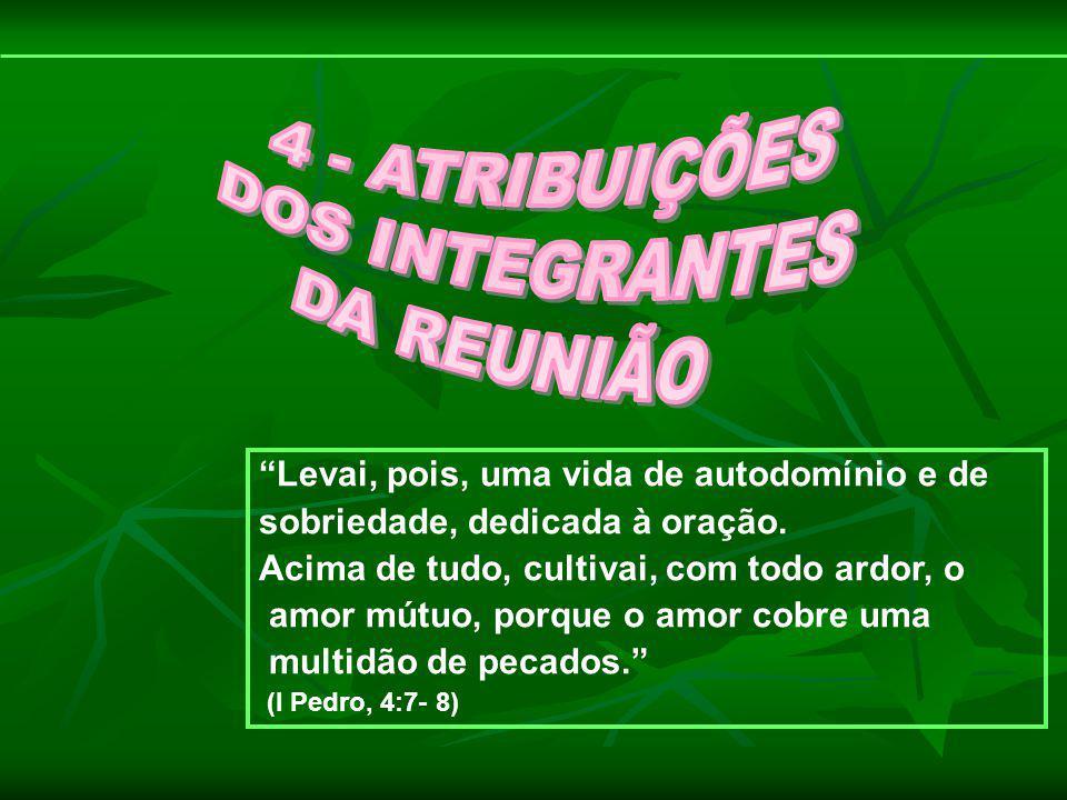 4 - ATRIBUIÇÕES DOS INTEGRANTES DA REUNIÃO