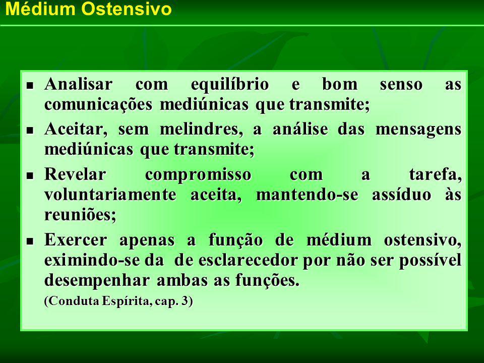 Médium Ostensivo Analisar com equilíbrio e bom senso as comunicações mediúnicas que transmite;