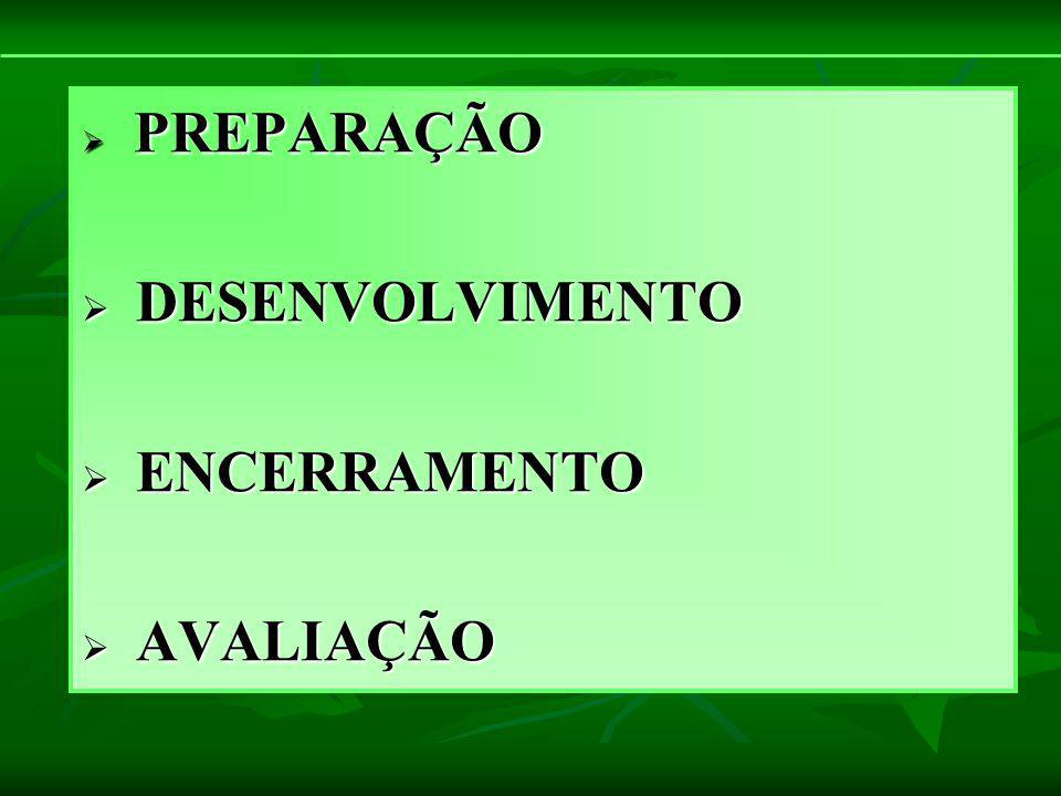 PREPARAÇÃO DESENVOLVIMENTO ENCERRAMENTO AVALIAÇÃO