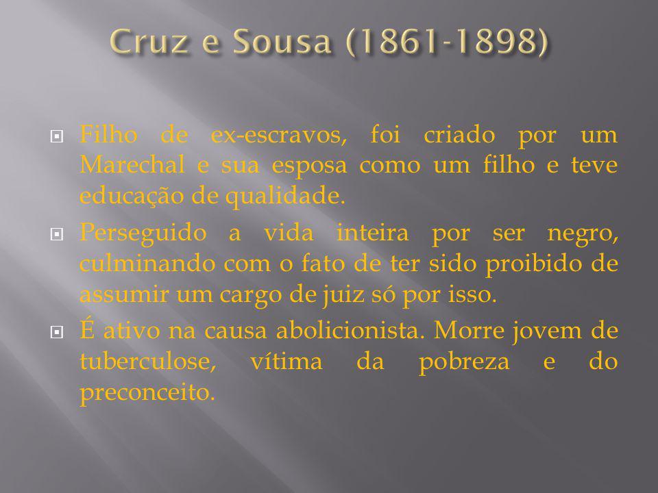 Cruz e Sousa (1861-1898) Filho de ex-escravos, foi criado por um Marechal e sua esposa como um filho e teve educação de qualidade.