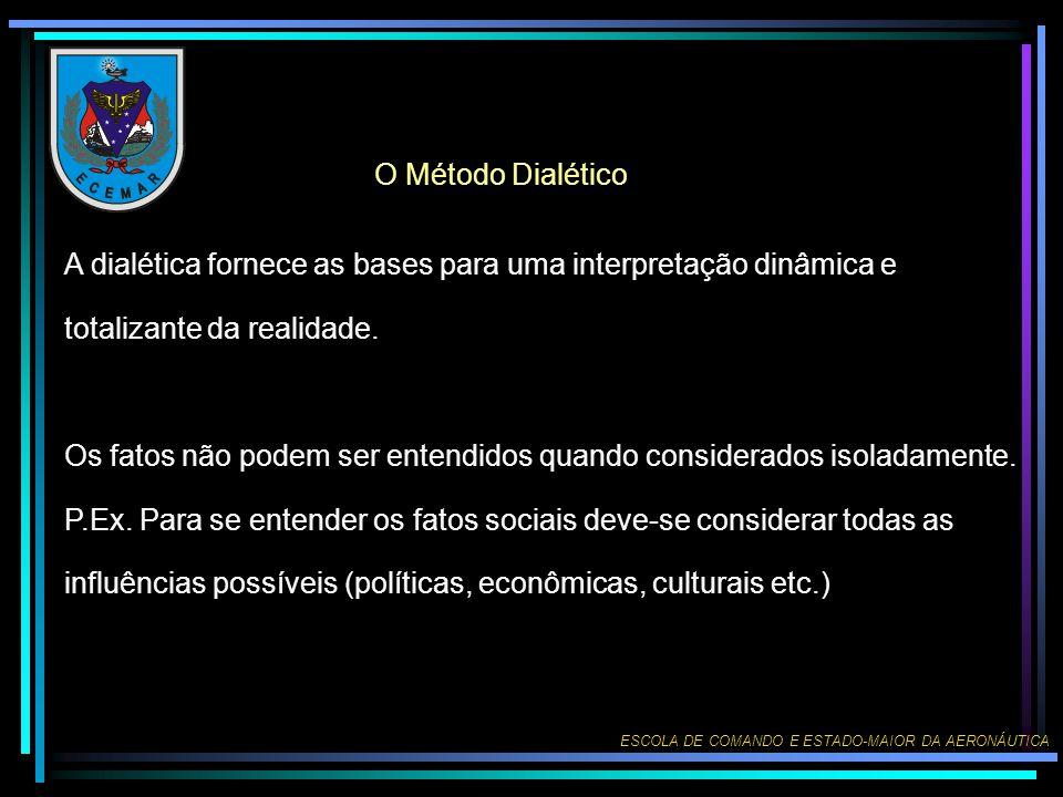 O Método Dialético A dialética fornece as bases para uma interpretação dinâmica e totalizante da realidade.