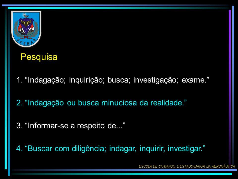 Pesquisa 1. Indagação; inquirição; busca; investigação; exame.