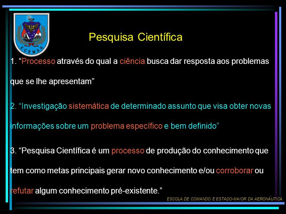 Pesquisa Científica 1. Processo através do qual a ciência busca dar resposta aos problemas que se lhe apresentam