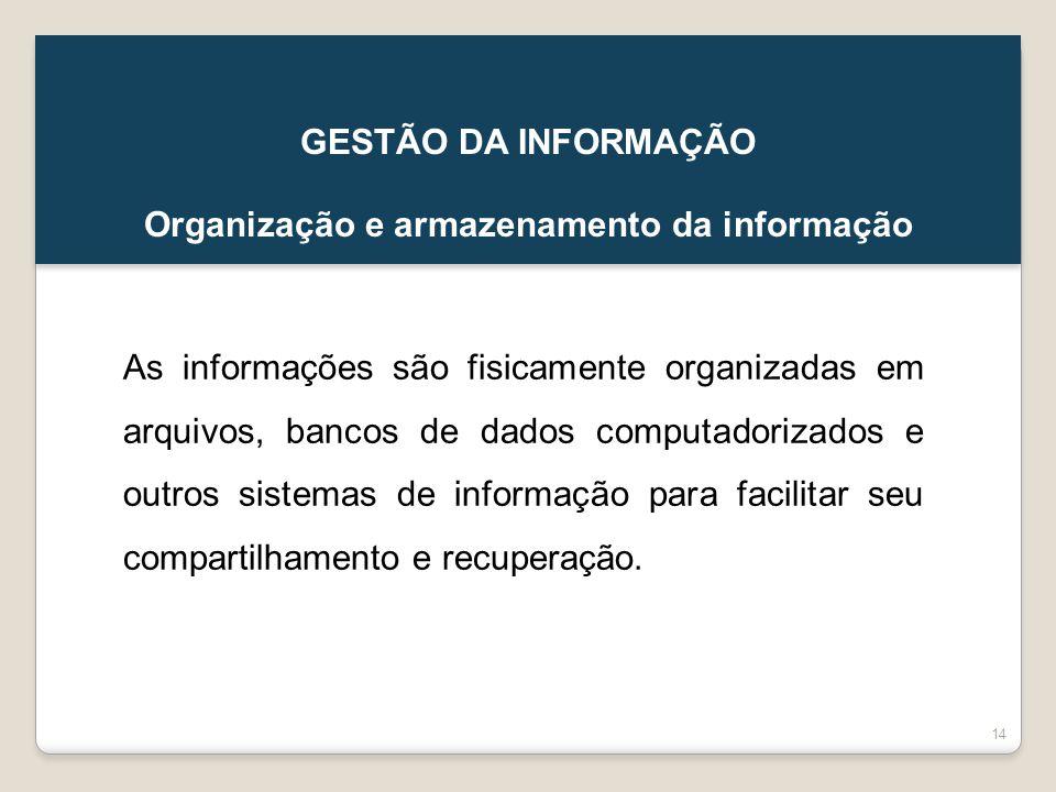 Organização e armazenamento da informação