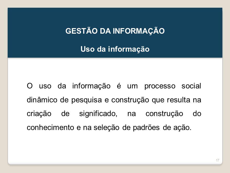 GESTÃO DA INFORMAÇÃO Uso da informação