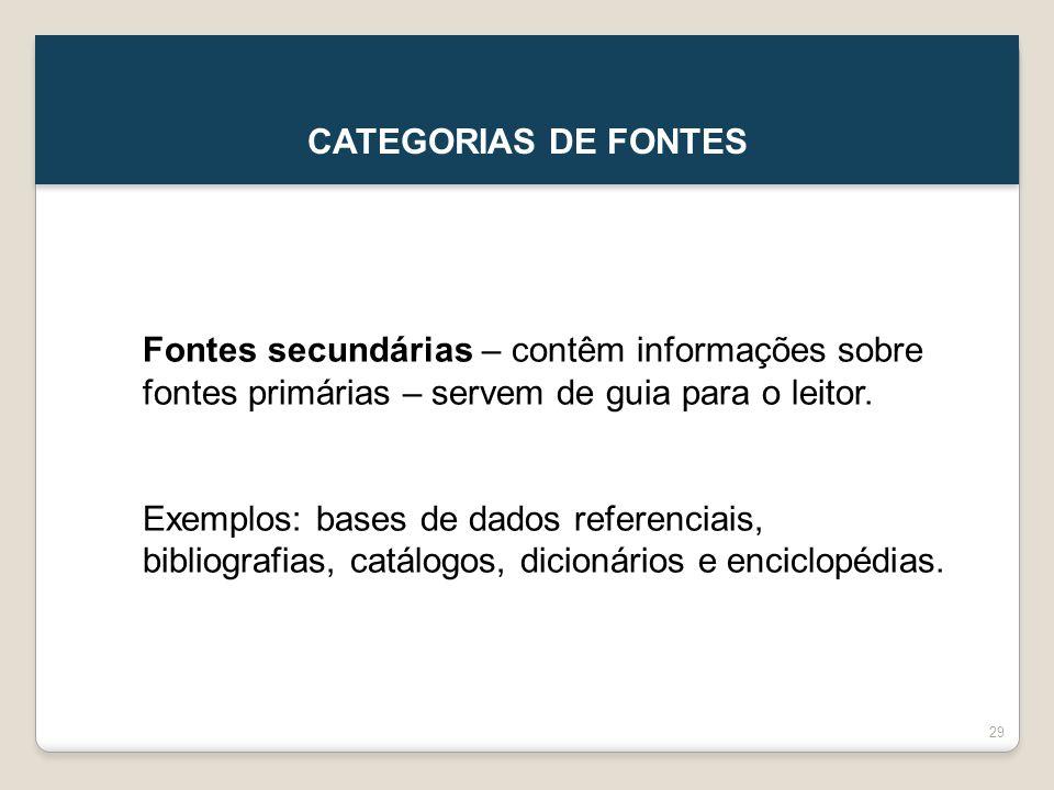 CATEGORIAS DE FONTES Fontes secundárias – contêm informações sobre fontes primárias – servem de guia para o leitor.