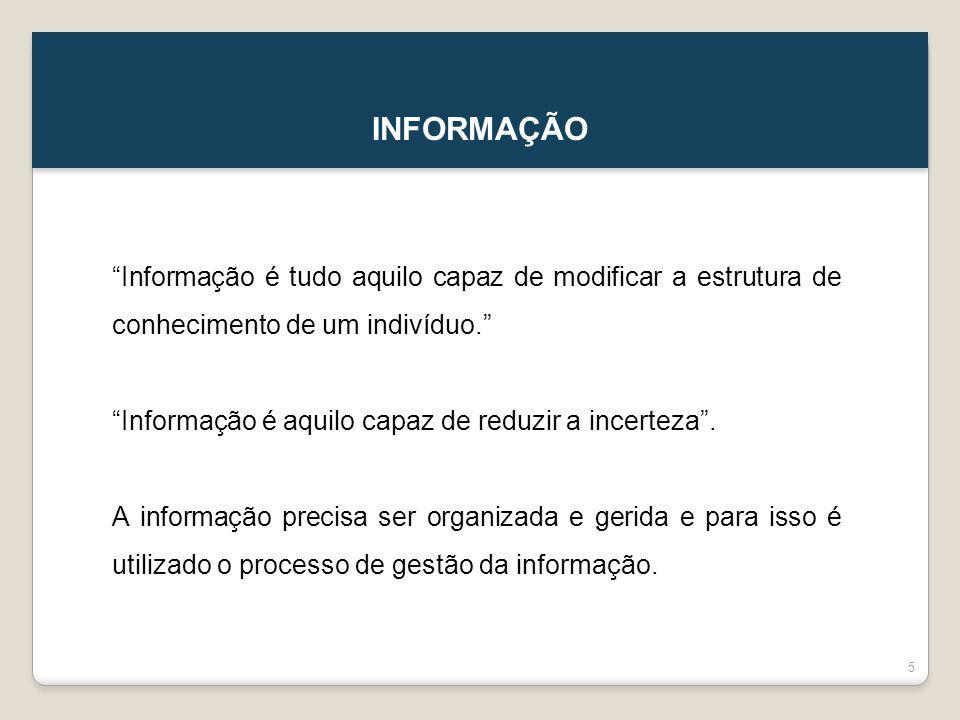 INFORMAÇÃO Informação é tudo aquilo capaz de modificar a estrutura de conhecimento de um indivíduo.