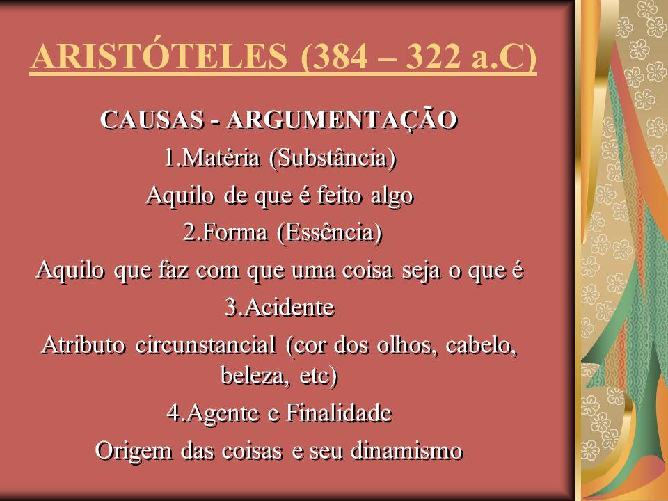 ARISTÓTELES (384 – 322 a.C) CAUSAS - ARGUMENTAÇÃO
