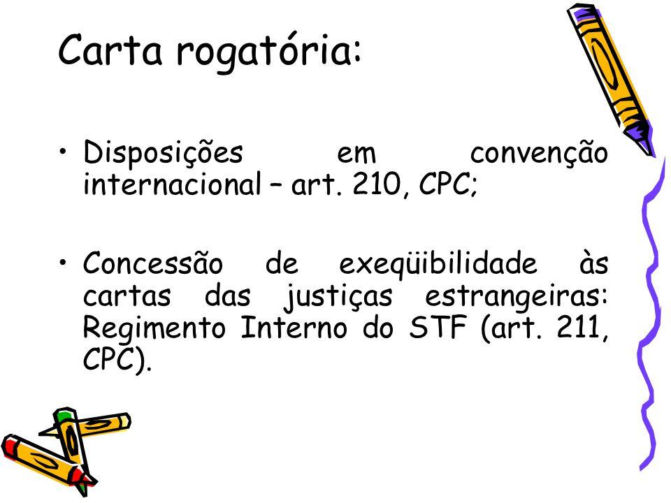 Carta rogatória: Disposições em convenção internacional – art. 210, CPC;