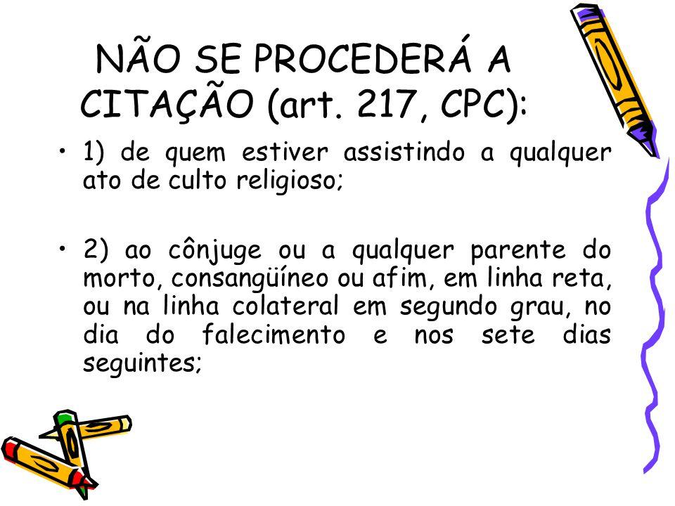 NÃO SE PROCEDERÁ A CITAÇÃO (art. 217, CPC):
