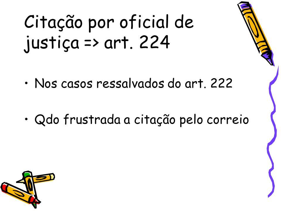 Citação por oficial de justiça => art. 224