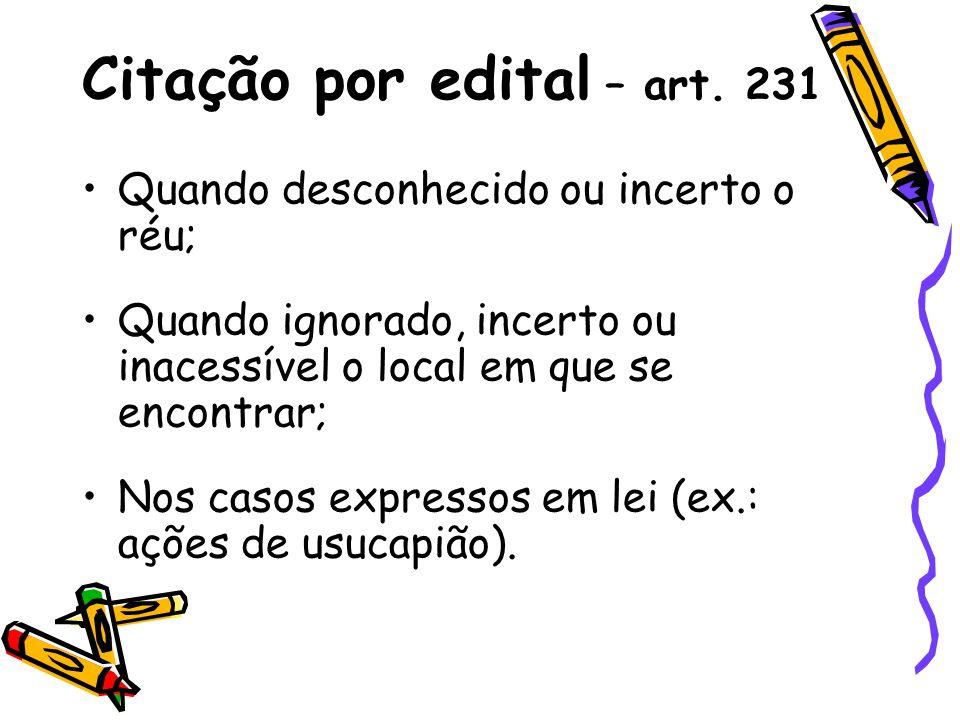 Citação por edital – art. 231