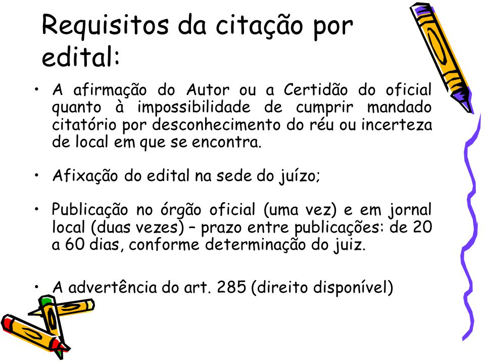 Requisitos da citação por edital: