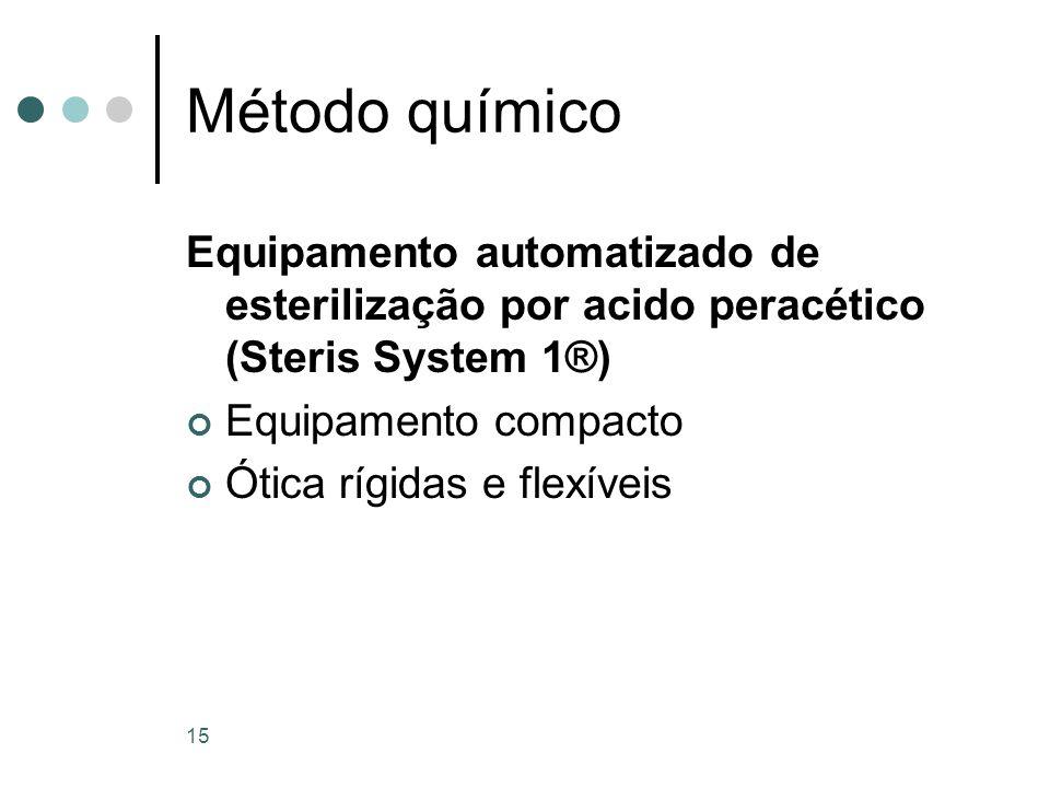 Método químico Equipamento automatizado de esterilização por acido peracético (Steris System 1®) Equipamento compacto.