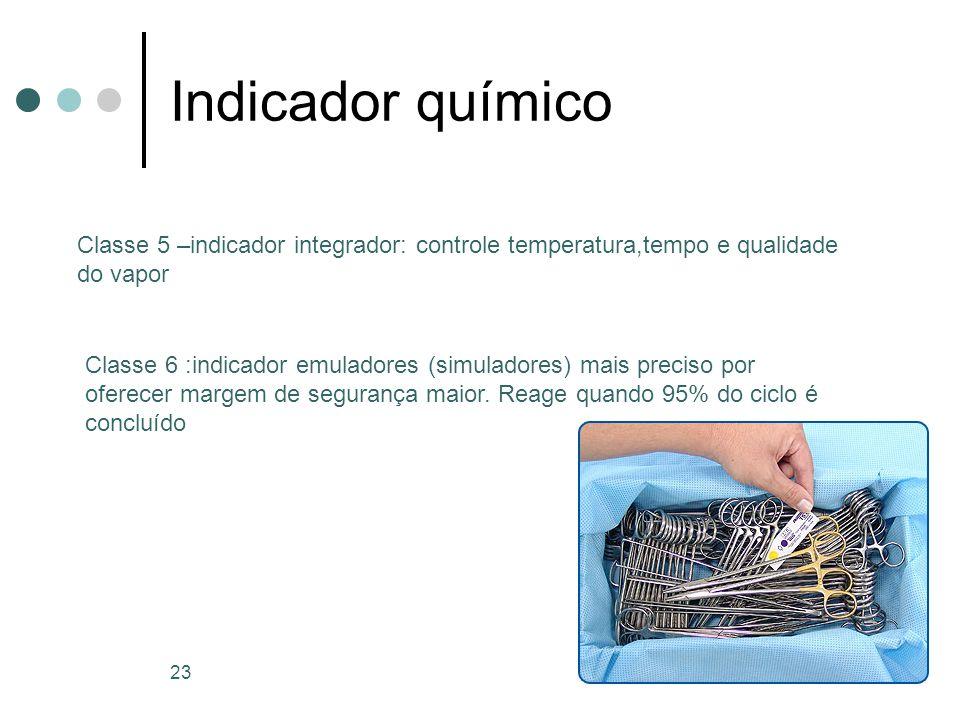 Indicador químico Classe 5 –indicador integrador: controle temperatura,tempo e qualidade do vapor.