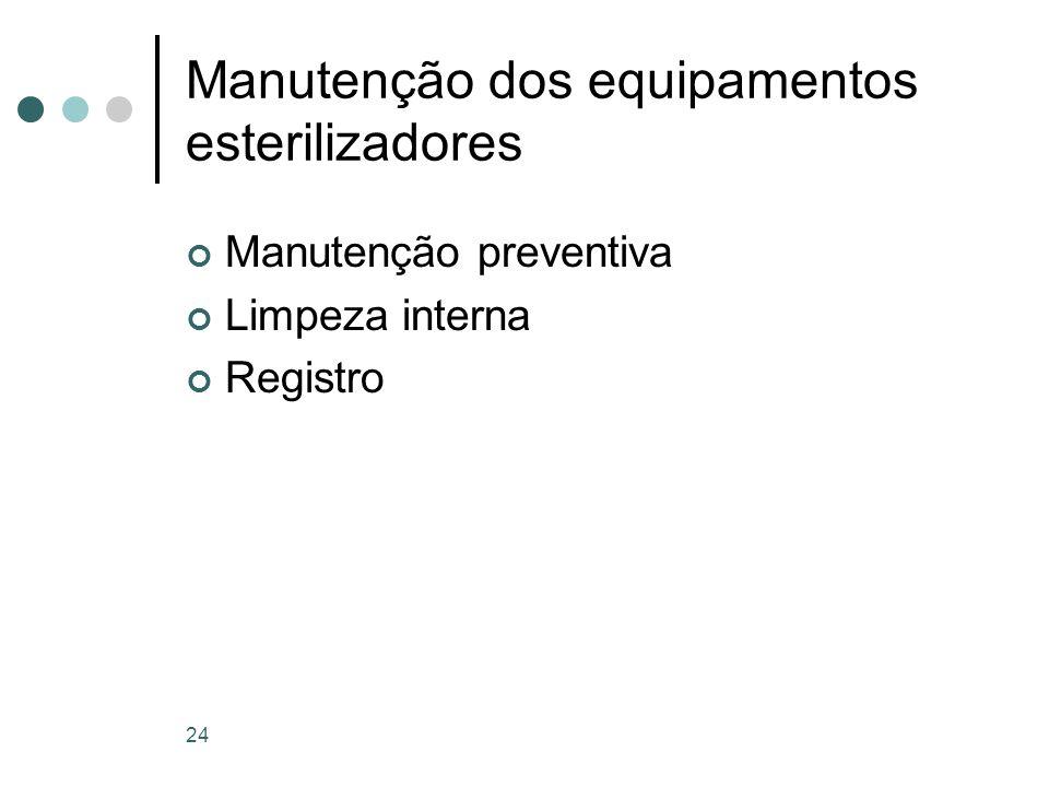 Manutenção dos equipamentos esterilizadores