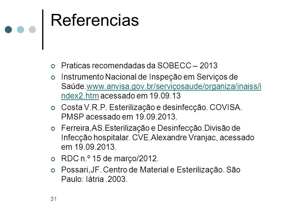 Referencias Praticas recomendadas da SOBECC – 2013
