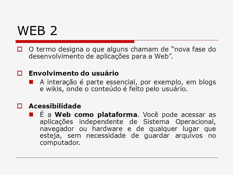 WEB 2 O termo designa o que alguns chamam de nova fase do desenvolvimento de aplicações para a Web .