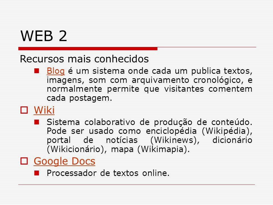 WEB 2 Recursos mais conhecidos Wiki Google Docs