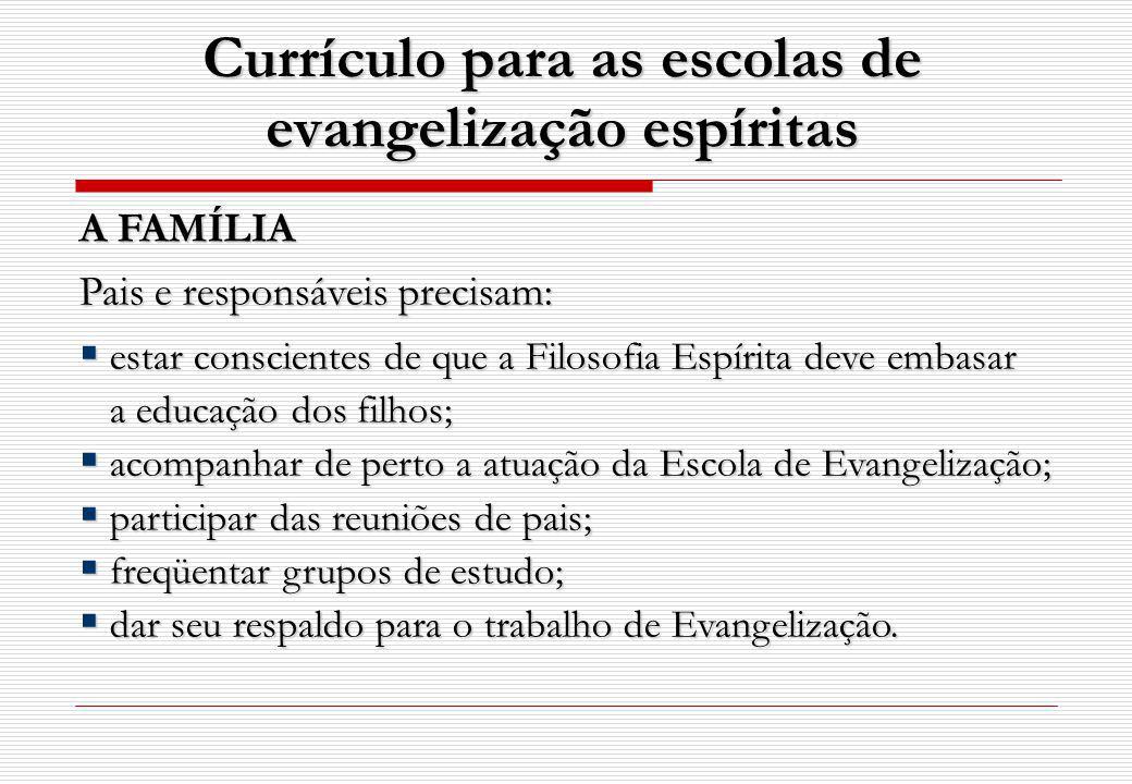 Currículo para as escolas de evangelização espíritas