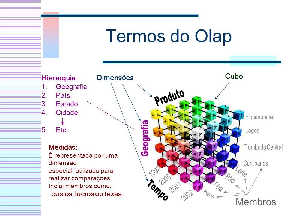 Termos do Olap Membros Produto Geografia Tempo Cubo Hierarquia: