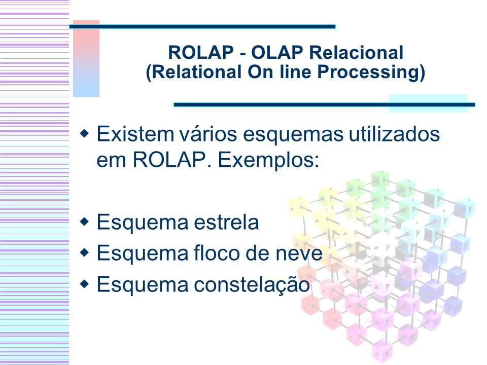 ROLAP - OLAP Relacional (Relational On line Processing)