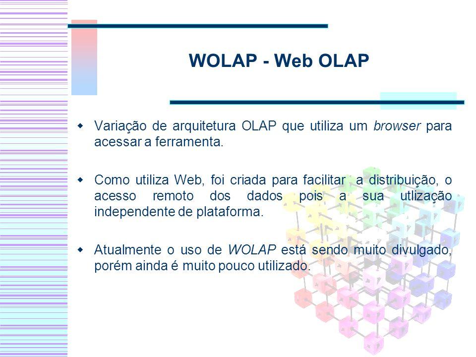 WOLAP - Web OLAP Variação de arquitetura OLAP que utiliza um browser para acessar a ferramenta.