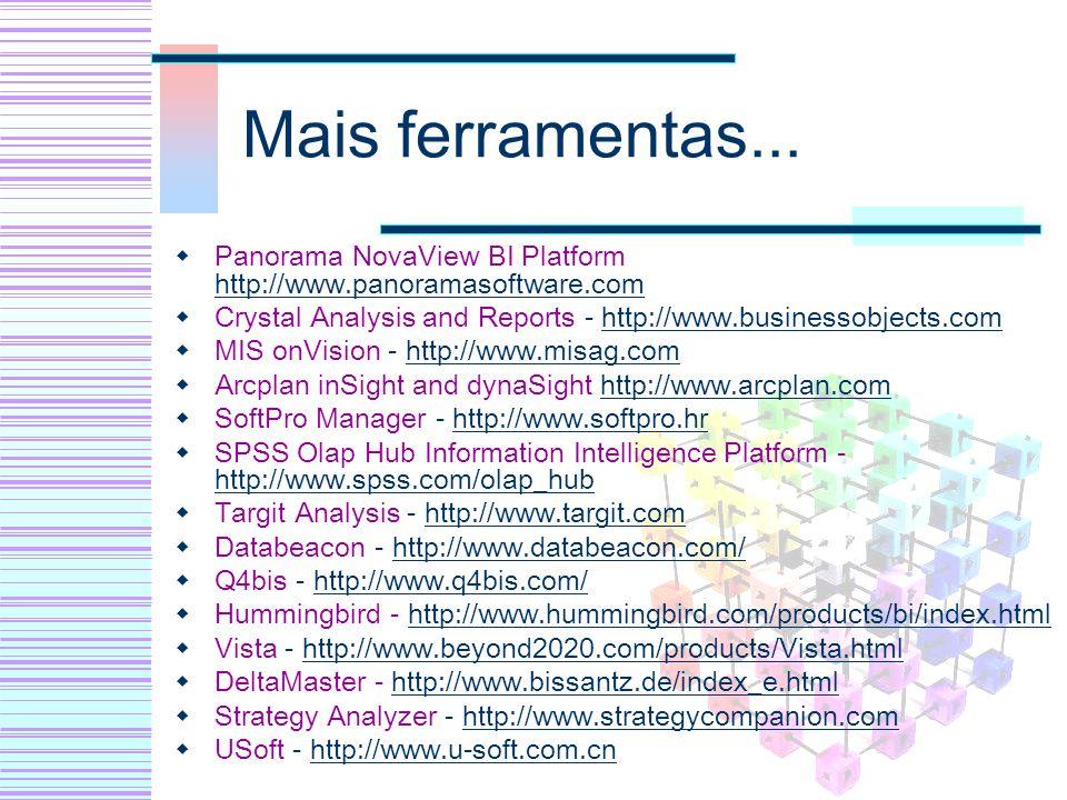 Mais ferramentas... Panorama NovaView BI Platform http://www.panoramasoftware.com. Crystal Analysis and Reports - http://www.businessobjects.com.